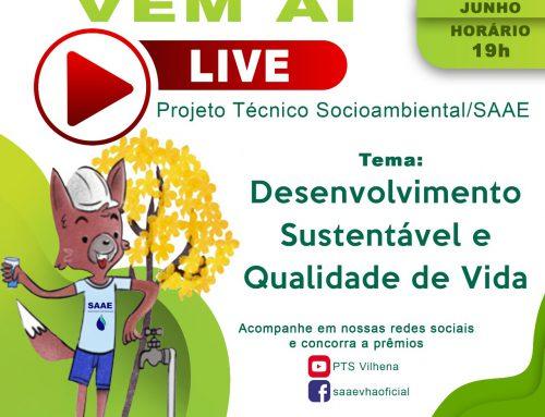 """Saae realizará seminário online com o tema """"Desenvolvimento Sustentável e Qualidade de Vida"""""""